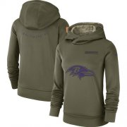 Wholesale Cheap Women's Baltimore Ravens Nike Olive Salute to Service Sideline Therma Performance Pullover Hoodie