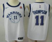 Wholesale Cheap Men's Golden State Warriors #11 Klay Thompson White 2017-2018 Nike Swingman Rakuten Stitched NBA Jersey