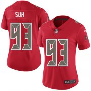 Wholesale Cheap Nike Buccaneers #93 Ndamukong Suh Red Women's Stitched NFL Limited Rush Jersey