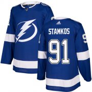 Wholesale Cheap Adidas Lightning #91 Steven Stamkos Blue Home Authentic Stitched NHL Jersey