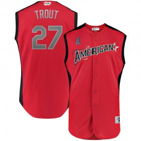Wholesale Cheap American League #27 Mike Trout Majestic Youth 2019 MLB All-Star Game Player Jersey Red