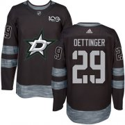 Cheap Adidas Stars #29 Jake Oettinger Black 1917-2017 100th Anniversary Stitched NHL Jersey