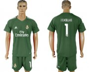 Wholesale Cheap Real Madrid #1 I.Casillas Green Goalkeeper Soccer Club Jersey