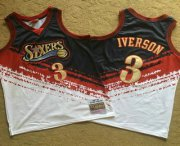 Wholesale Cheap Men's Philadelphia 76ers #3 Allen Iverson White With Black Independence Day 1997-98 Hardwood Classics Soul AU Throwback Jersey
