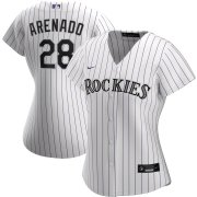 Wholesale Cheap Colorado Rockies #28 Nolan Arenado Nike Women's Home 2020 MLB Player Jersey White
