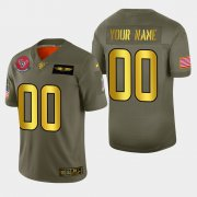 Wholesale Cheap Nike Texans Custom Men's Olive Gold 2019 Salute to Service NFL 100 Limited Jersey