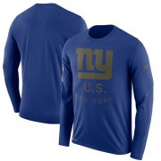 Wholesale Cheap Men's New York Giants Nike Royal Salute to Service Sideline Legend Performance Long Sleeve T-Shirt