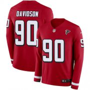 Wholesale Cheap Nike Falcons #90 Marlon Davidson Red Team Color Men's Stitched NFL Limited Therma Long Sleeve Jersey