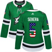 Cheap Adidas Stars #5 Andrej Sekera Green Home Authentic USA Flag Women's Stitched NHL Jersey