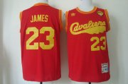 Wholesale Cheap Men's Cleveland Cavaliers #23 LeBron James 2015 The Finals 2009 Red Hardwood Classics Soul Swingman Throwback Jersey