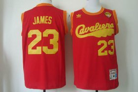 Wholesale Cheap Men\'s Cleveland Cavaliers #23 LeBron James 2015 The Finals 2009 Red Hardwood Classics Soul Swingman Throwback Jersey