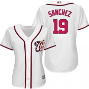 Wholesale Cheap Nationals #19 Anibal Sanchez White Home Women's Stitched MLB Jersey