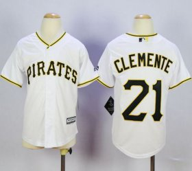 Wholesale Cheap Pirates #21 Roberto Clemente White Cool Base Stitched Youth MLB Jersey