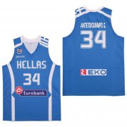 Wholesale Cheap Men's Hellas Eurobank #34 Antetokounmpo G. Blue Basketball Stitched Jersey