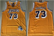 Wholesale Cheap Lakers 73 Dennis Rodman Yellow Hardwood Classics Jersey
