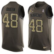 Wholesale Cheap Nike Ravens #48 Patrick Queen Green Men's Stitched NFL Limited Salute To Service Tank Top Jersey