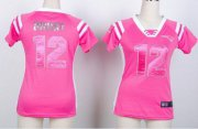 Wholesale Cheap Nike Patriots #12 Tom Brady Pink Women's Stitched NFL Elite Draft Him Shimmer Jersey