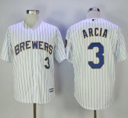 Wholesale Cheap Brewers #3 Orlando Arcia White(Blue Strip) New Cool Base Stitched MLB Jersey