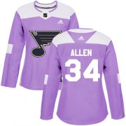 Wholesale Cheap Adidas Blues #34 Jake Allen Purple Authentic Fights Cancer Women's Stitched NHL Jersey