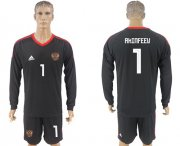 Wholesale Cheap Russia #1 Akinfeev Black Long Sleeves Goalkeeper Soccer Country Jersey