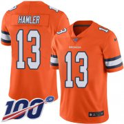 Wholesale Cheap Nike Broncos #13 KJ Hamler Orange Youth Stitched NFL Limited Rush 100th Season Jersey