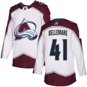Wholesale Cheap Adidas Avalanche #41 Pierre-Edouard Bellemare White Road Authentic Stitched Youth NHL Jersey