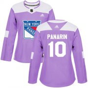 Wholesale Cheap Adidas Rangers #10 Artemi Panarin Purple Authentic Fights Cancer Women's Stitched NHL Jersey