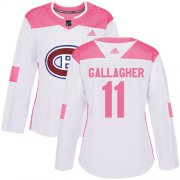 Wholesale Cheap Adidas Canadiens #11 Brendan Gallagher White/Pink Authentic Fashion Women's Stitched NHL Jersey