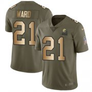 Wholesale Cheap Nike Browns #21 Denzel Ward Olive/Gold Youth Stitched NFL Limited 2017 Salute to Service Jersey