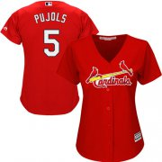 Wholesale Cheap Cardinals #5 Albert Pujols Red Alternate Women's Stitched MLB Jersey