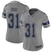 Wholesale Cheap Nike Cowboys #31 Trevon Diggs Gray Women's Stitched NFL Limited Inverted Legend Jersey