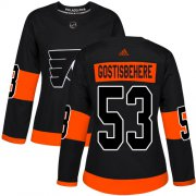 Wholesale Cheap Adidas Flyers #53 Shayne Gostisbehere Black Alternate Authentic Women's Stitched NHL Jersey
