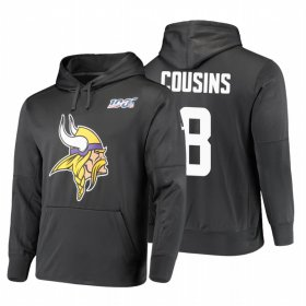 Wholesale Cheap Minnesota Vikings #8 Kirk Cousins Nike NFL 100 Primary Logo Circuit Name & Number Pullover Hoodie Anthracite