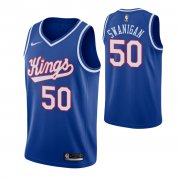 Wholesale Cheap Men's Sacramento Kings #50 Caleb Swanigan Blue 2019-20 Hardwood Classics Jersey