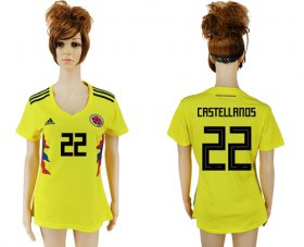 Wholesale Cheap Women\'s Colombia #22 Castellanos Home Soccer Country Jersey
