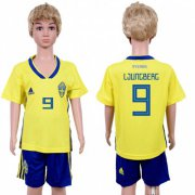 Wholesale Cheap Sweden #9 Ljungberg Home Kid Soccer Country Jersey