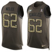 Wholesale Cheap Nike Eagles #62 Jason Kelce Green Men's Stitched NFL Limited Salute To Service Tank Top Jersey