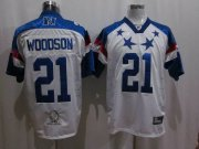 Wholesale Cheap Packers #21 Charles Woodson 2011 White and Blue Pro Bowl Stitched NFL Jersey