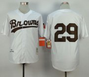 Wholesale Cheap Mitchell and Ness 1953 Browns #29 Satchel Paige White Throwback Stitched MLB Jersey