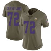 Wholesale Cheap Nike Vikings #72 Ezra Cleveland Olive Women's Stitched NFL Limited 2017 Salute To Service Jersey