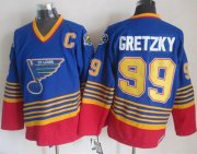 Wholesale Cheap Blues #99 Wayne Gretzky Light Blue/Red CCM Throwback Stitched NHL Jersey