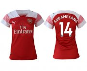 Wholesale Cheap Women's Arsenal #14 Aubameyang Home Soccer Club Jersey