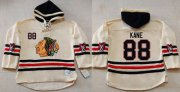 Wholesale Blackhawks #88 Patrick Kane Cream Heavyweight Pullover Hoodie Stitched NHL Jersey