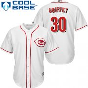 Wholesale Cheap Reds #30 Ken Griffey White Cool Base Stitched Youth MLB Jersey