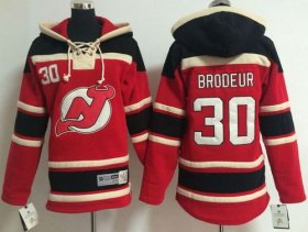 Wholesale Cheap Devils #30 Martin Brodeur Red Sawyer Hooded Sweatshirt Stitched Youth NHL Jersey