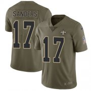 Wholesale Cheap Nike Saints #17 Emmanuel Sanders Olive Youth Stitched NFL Limited 2017 Salute To Service Jersey