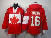 Wholesale Cheap Olympic CA. #16 Jonathan Toews Red Sawyer Hooded Sweatshirt Stitched NHL Jersey
