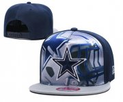 Wholesale Cheap Cowboys Team Logo Navy Gray Adjustable Leather Hat TX