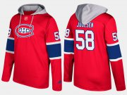Wholesale Cheap Canadiens #58 Noah Juulsen Red Name And Number Hoodie
