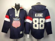 Wholesale Cheap Team USA Olympics #88 Patrick Kane Navy Blue Sawyer Hooded Sweatshirt Stitched NHL Jersey